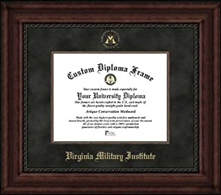 Laminated Visuals Virginia Military Institute Keydets - Embossed Seal - Suede Mat - Mahogany - Diploma Frame