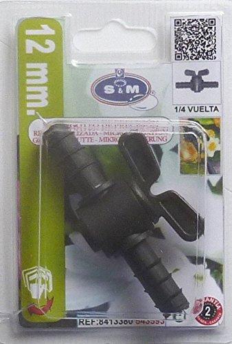 S&M 543593 Llave de Paso interlínea con Anilla de Seguridad de 12 mm para tubería de Goteo, Negro, 3x8.50x12 cm