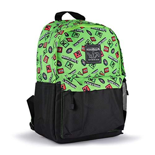 Minecraft Creeper Rucksack für Jungen | Schulrucksack Jungen Teenager | Lizenzierter Minecraft Rucksack im Creeper Design | Schultasche, Schulranzen, Sporttasche Für Jungs | Sporttasche
