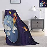 Luoiaax Outer Space Fuzzy Blankets King Size Rocket on Planetary System with Earth Stars UFO Saturn Sun Galaxy Boys Print Comfortable Soft Warm Large Blanket W70 x L84 Inch Multicolor