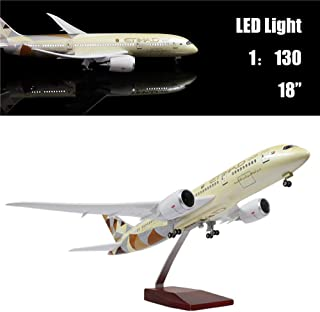 """24-Hours 18"""" 1:130 Hobby Airplane Scare Model Etihad B787 Diecast Plane with LED Light(Touch or Sound Control) for Decoration or Gift"""