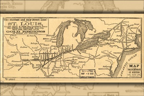 24'x36' Gallery Poster, Map Toledo Wabash Great Western Railroad 1859
