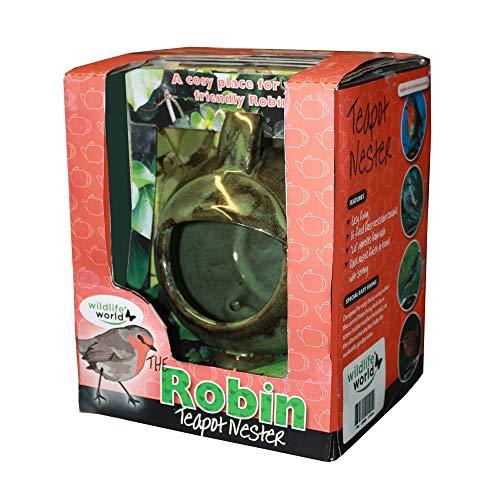 Wildlife World Robin Teapot Nester Teekannennester mit Rotkehlchen, grün