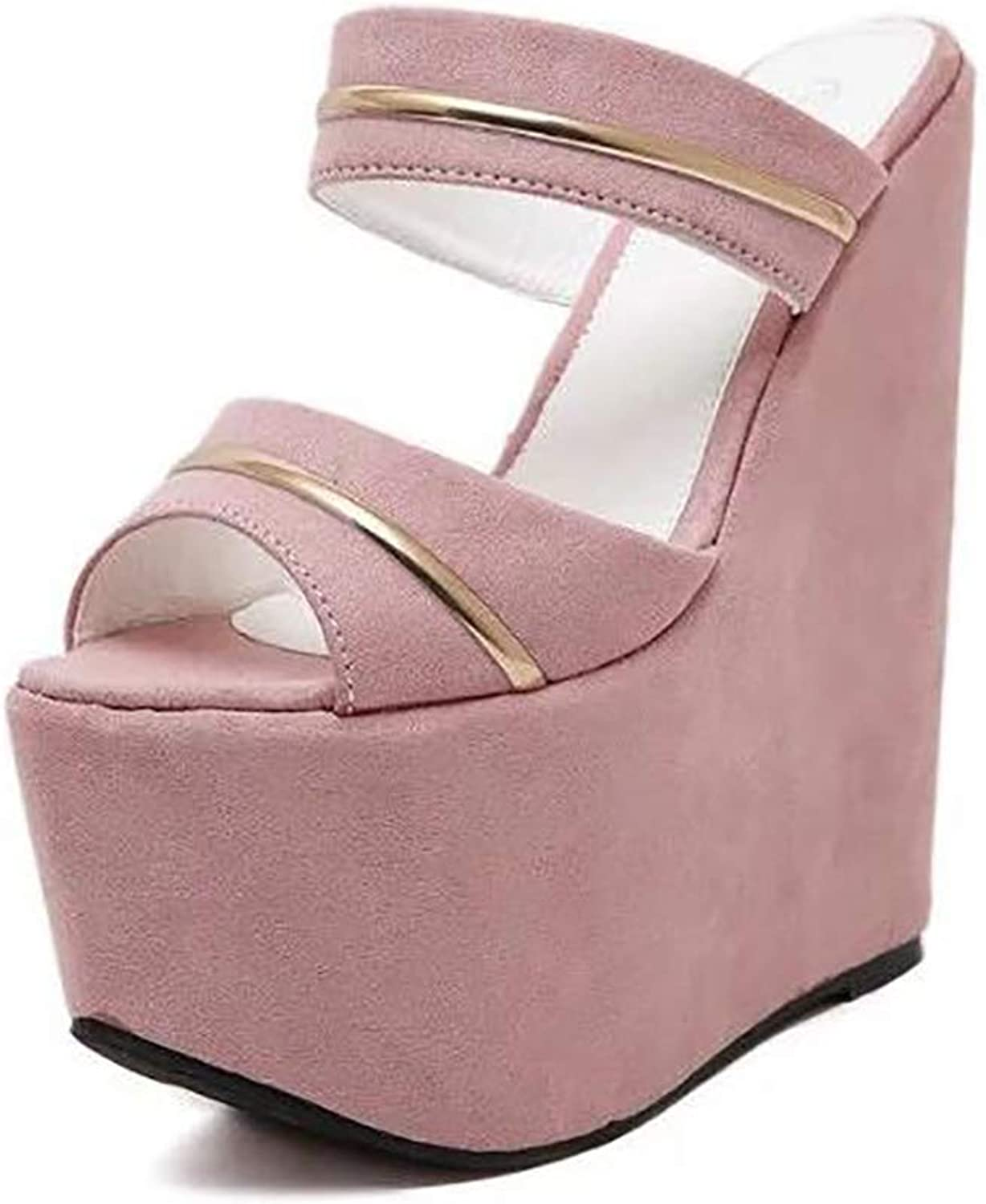 Women's Summer Beach Glitter Waterproof Peep Toe Wedge Platform High Heel Outdoor shoes
