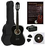 NAVARRA NV14PK - Guitarra acustica STARTER PACK 3/4 negro con bordes crema, Cliptuner pantalla LCD de aguja con iluminación de fondo, 2 Púa