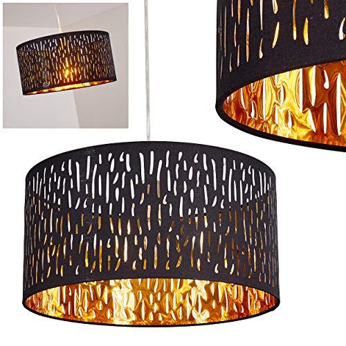 Colgante Liared - Lámpara de techo elegante en negro y oro - lámpara de techo exótica con pantalla redonda - comedor - salón - dormitorio