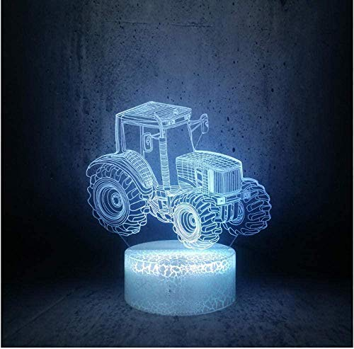 Tractor Shape Night Light Desk 3D Illusion Lamp Boys Toy Kids Holiday Gifts