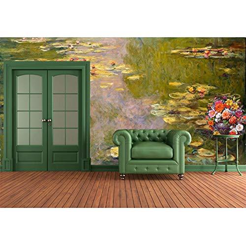 Fototapeten The Water Lily Murals 3D Benutzerdefinierte Tapete Claude Monet Gemälde Foto Tapete Raumdekor Schlafzimmer Wohnzimmer Shop Wohnzimmer-400X280Cm,Wandbilder