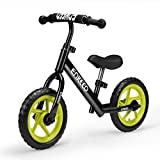 ENKEEO 12 Sport Balance Bike No Pedal Walking Bicycle with Carbon Steel Frame, Adjustable Handlebar and Seat, 110lbs Capacity for Ages 2 to 6 Years Old, Black