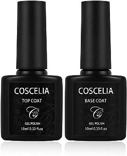 Coscelia Base Coat y Top Coat Semipermanente Esmalte Semipermanente de Uñas Gel UV LED Color 2pcs Kit de Manicura Soak off