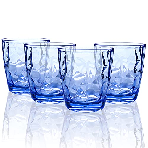 Topsky Plastic Tumblers Drinking Glasses [10oz,Set of 4,Unbreakable] Plastic Tumbler Cups Clear Acrylic Reusable Juice Wine Cups for Home Picnic Party, Dishwasher Safe, Stackable