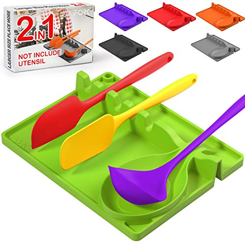 Forc Silicone Spoon Rest 2 in 1 Larger Size Silicone Spoon Holder for Stove Top, Upgraded Utensil Rest with Drip Pad Include 5 Slots & 1 Spoon Holder, Easy to Clean, Hang Hole Design, Green
