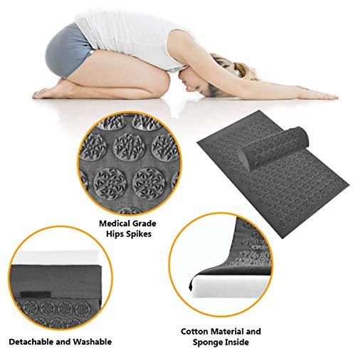 Tapusen Tapis d'acupuncture, Kit d'Acupression Tapis,Yoga Tapis de Massage,Tapis d'acupression et d'Acupression Oreiller, Kit d'acupuncture détend et relâche efficacement la tension