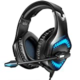 RUNMUS Gaming Headset Xbox One Headset with 7.1 Surround Sound, PS4 Headset with Noise Canceling Mic & LED Light, Compatible with PC, PS4, Wired PC Headphones for Online Class, Cell Phone