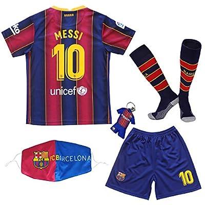 BIRDBOX Youth Sportswear Barcelona Leo Messi 10 Kids Home Soccer Jersey/Shorts Bag Keychain Football Socks Set (Home (New), 10-11 Years)