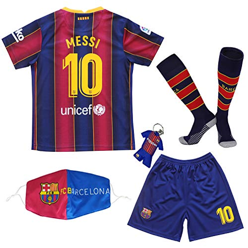 BIRDBOX Youth Sportswear Barcelona Leo Messi 10 Kids Home Soccer Jersey/Shorts Bag Keychain Football Socks Set (Home (New), 7-8 Years)