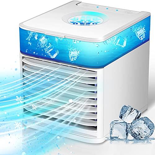 Mobile Klimageräte USB, Mini Luftkühler mit 3 Geschwindigkeiten, Mobile Klimaanlage Leise, Air Cooler Klimagerät 90° Schwingwind Ventilator Luftbefeuchter, 7 LED Luftkühler Klein für Zuhause und Büro