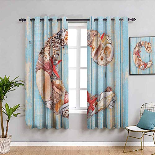 Letter C Blackout Curtain Liner, Curtains 45 inch Length Marine Life Design Letter C from Alphabet on Soft Colored Backdrop Bathroom Curtain Pale Blue Ivory Dark Coral W63 x L45 Inch