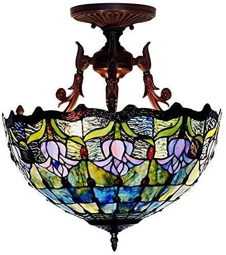 Lámpara de techo, luz de baño plafón colgante de cristal colorido Bombilla de techo de 16 pulgadas, estilo Tiffany Style Semi-flujo de techo con lámpara de cristal de colores tulipan, luces