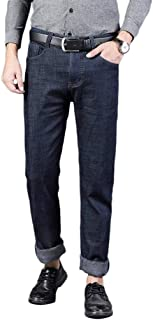 Plaid&Plain Men's Flannel Lined Jeans Fleece Lined Insulated Work Pants Slim Bootcut Jeans