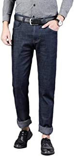 Men's Flannel Lined Jeans Fleece Lined Insulated Work Pants Slim Bootcut Jeans