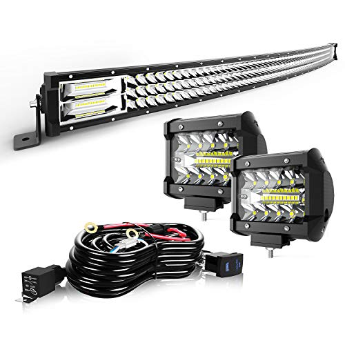 "TURBO SII 50"" LED Light Bar Curved Triple Row 684W Flood Spot Combo Beam Led Bar W/ 2Pcs 4in Off Road Driving Fog Lights with Wiring Harness-3 Leads for Trucks Polaris ATV Boats Lighting"