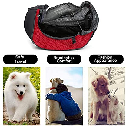 MaoXinTek Pet Sling Carrier Bag, Safe Dog Slings Backpack for Small Puppy Cat 2.5kg/5.5LB Breathable Mesh Travel Carrier Pouch, Shoulder Cross body Bag Hand Free for Outdoor Walking Subway 4