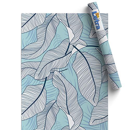 Papel Pintado de Vinilo Autoadhesivo 45 * 500cm para Pared del Hogar, Cocina, Oficina y Tienda - Hojas Azules - Material Vinilo Impermeable, Duradero y Removible, V-PA-0402