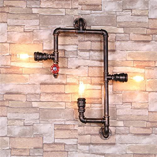 Pointhx Lámpara de pared grande de 3 luces, lámpara de pared industrial, lámpara de pared de aceite rústico, bronce, para dormitorio, salón, pasillo, E27