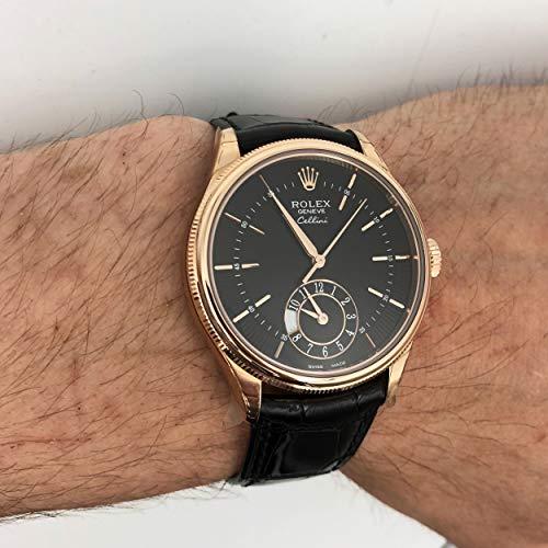 Rolex Cellini Dual Time Black Dial 18kt Everose Gold Mens Watch 50525BKSBKL