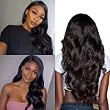 Body Wave Lace Front Wigs Human Hair Natural Hairline Brazilian Virgin Human Hair 4x13 Lace Front Wig With Baby Hair for Black Women Bleached Knots with Adjustable Straps 14 inch