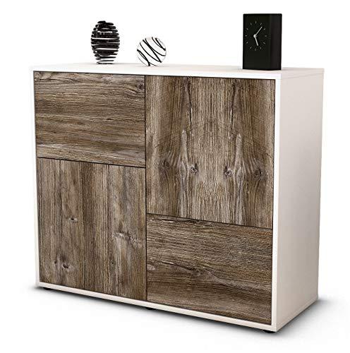 Stil.Zeit Sideboard Carla/Korpus Weiss matt/Front Holz-Design Treibholz (92x79x35cm) Push-to-Open Technik