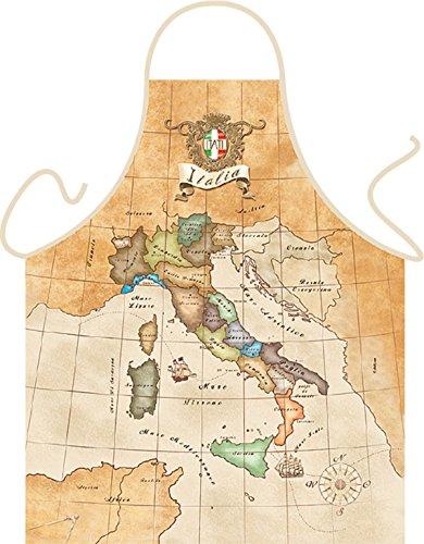 Grill-Schürze Historische Karte Italien Fun Koch-Schürze Küchen-Schürze geil bedruckt Geschenk-Set mit Grillermeister Urkunde