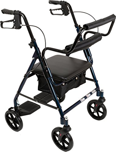 ProBasics Aluminum Rollator Walker with Seat - Rolling Walker with 6-inch Wheels - Foldable - Padded Seat and Backrest, Height Adjustable Handles, 300 Pound Weight Capacity, Blue