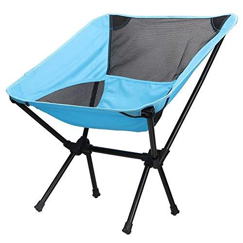Cikonielf - Silla de camping plegable, estructura de acero, ligera y sólida, silla de playa plegable portátil, para Backpacking, senderismo, picnic, pesca, playa, azul