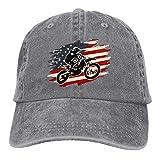 QNCNWI Dirt Bike Motocross American Flag Sports Denim Cap Adjustable Snapback Casquettes Unisex Baseball Cowboy Hat