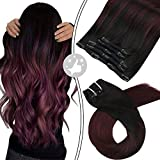 Moresoo Clip in Hair Extensions Human Hair 10 Inch Human Hair Clip in 5PCS 70G Double Weft Sew in Human Hair Extensions Balayage Color 1B Black to 99J Wine Red Clip Extension