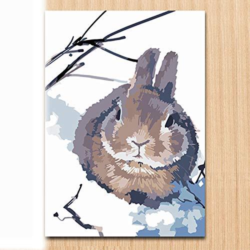 Afabel DIY-Lindo Conejo Nueva Pintura para Números para Adultos Y Niños - Pintura Digital De Bricolaje por Kits De Números sobre Lienzo- sin Marco 30x45cm