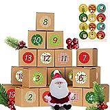 abbx 24 Calendario de Adviento,Cajas de Regalo Navidad Calendario de Adviento,Calendario Adviento DIY, Adhesivos Digitales de Adviento,2020 Bolsa para Calendario de Advient (A)