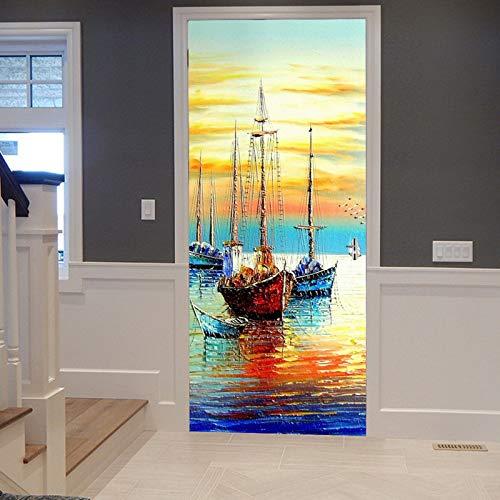 A.Monamour Pegatinas Decorativas de Puerta Autoadhesivo 3D Coloridos Barcos De Vela De Acuarela En El Diseño del Río Vinilo para Puertas Mural PVC Pegatinas de Pared Foto Poster 83 x 204 cm