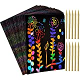YUKKLY 100 Piece Scratch Art Paper Kits for Kids, Rainbow Scratch Paper with 5 Wooden Styluses and Drawing Stencils, Toddler Crafts, Scratchboard Arts and Crafts for Christmas Birthday Gift