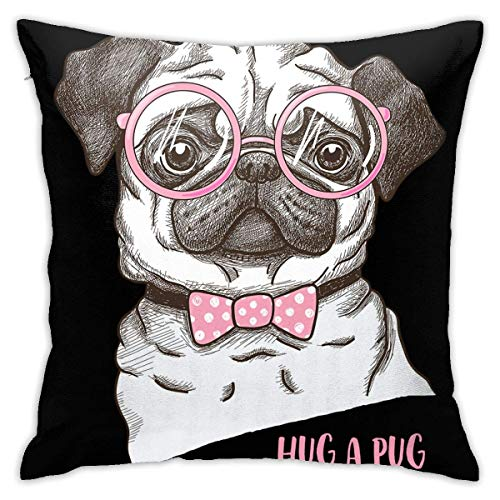 wteqofy Velvet Pillow Covers Hand Drawn Funny Fashionable Pug Pillow Cases Decorative Square Pillowcase Soft Cushion Case for Sofa Bedroom Car 18 X 18 Inch