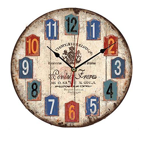 Orologio da Parete in Legno Vintage,12 Pollici Orologio Numerico Grande in Legno Retro,Silenzioso No Tick Tack Rumore Orologio da Parete per Cucina,Soggiorno Decorazione (B)