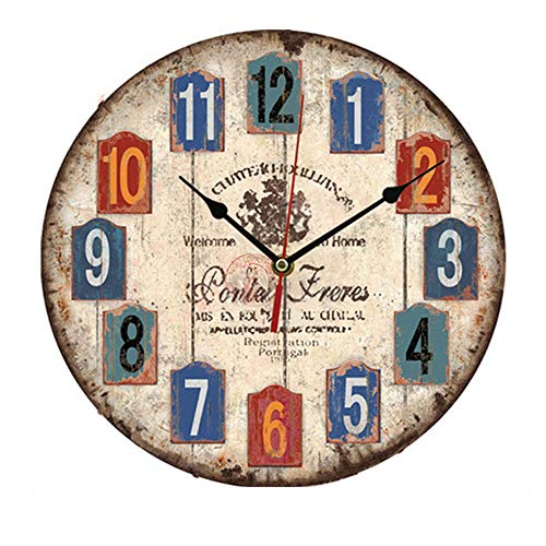 Orologio da Parete in Legno Vintage,30 cm Orologio Numerico Grande in Legno Retro,Silenzioso No Tick Tack Rumore Orologio da Parete per Cucina,Soggiorno Decorazione (B)