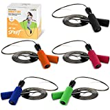 JUSDO 5 pack Jump Rope Steel Wire Adjustable Jump Ropes with Anti-Slip Handles for Workout Fitness...