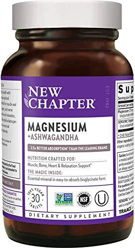 Magnesium, New Chapter Magnesium + Ashwagandha Supplement, 2.5X Absorption, Gluten Free, Non-GMO - 30 ct