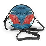 Just life Divertente simpatica sirena con un pesce Borsa a tracolla rotonda in pelle da donna con tracolla