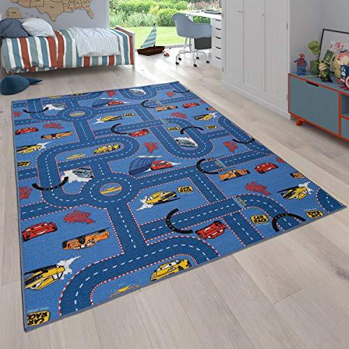 Paco Home Kinder-Teppich, Teppich Mit Straßen-Design und Auto-Motiven, Wendbar, In Blau, Grösse:140x200 cm
