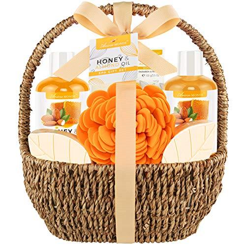 Bath Spa Gift Basket, Bath & Body Gift Set for Women & Men, Includes Shower Gel, Bubble Bath, Bath Salt, Bath Sponge, Perfect Gift Box for Mother's Day, Birthday, Wedding, Honey & Almond 8pcs
