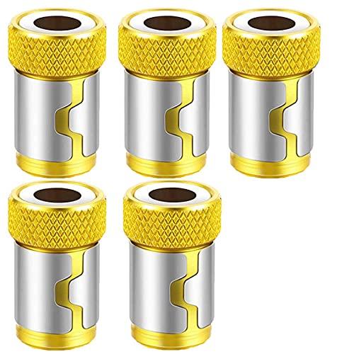 Anillo magnético de broca de destornillador de metal de 1/4'para broca de taladro anticorrosión de vástago de 6,35 mm, anillo magnético dorado, 5 uds.